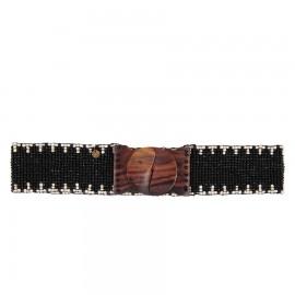 Черный пояс из деревянного бисера