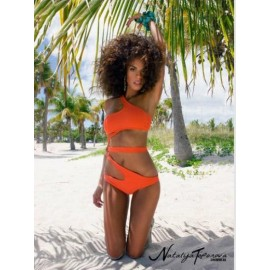 Оранжевый купальник монокини Natalya Toporova на одно плечо