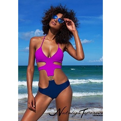 Purple and Navy Buckle Monokini от Natalya Toporova