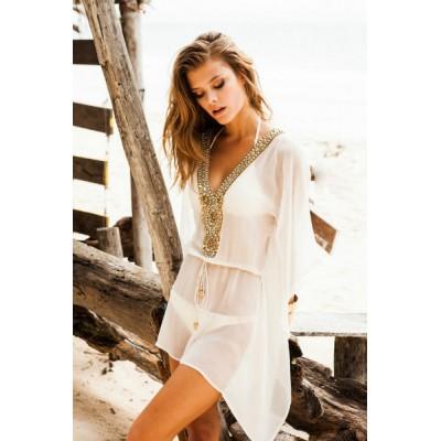 Пляжная шелковая туника Sauvage с вышивкой