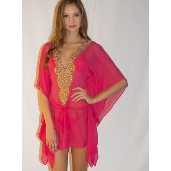 Пляжная розовая шелковая туника Sauvage с вышивкой
